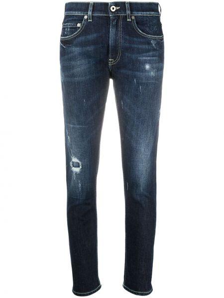 Хлопковые джинсы-скинни с низкой посадкой на молнии Dondup