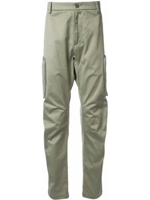 Хлопковые зеленые брюки карго с поясом на молнии Makavelic