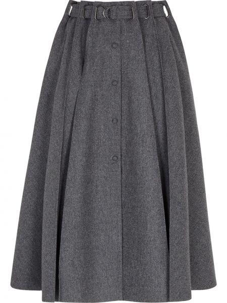 Шерстяная плиссированная юбка на пуговицах Fendi