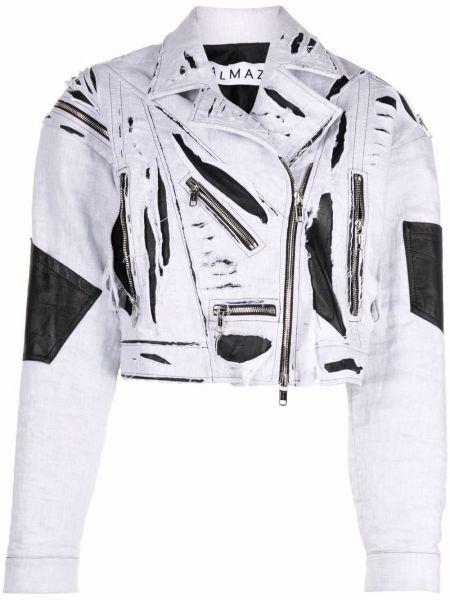 Белая кожаная короткая куртка байкерская Almaz