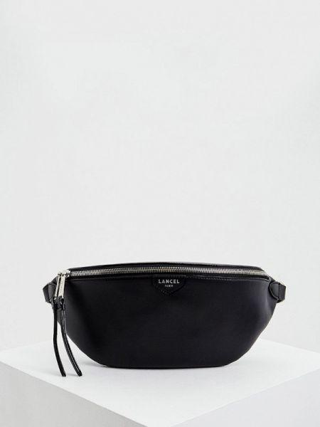 Черная поясная сумка с помпоном из натуральной кожи Lancel
