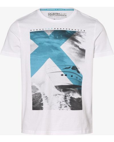 Beżowy t-shirt z printem Ocean Cup