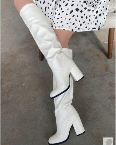 Кожаные сапоги - белые Brionity