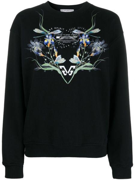 Czarny bawełna bawełna bluza z długimi rękawami Givenchy