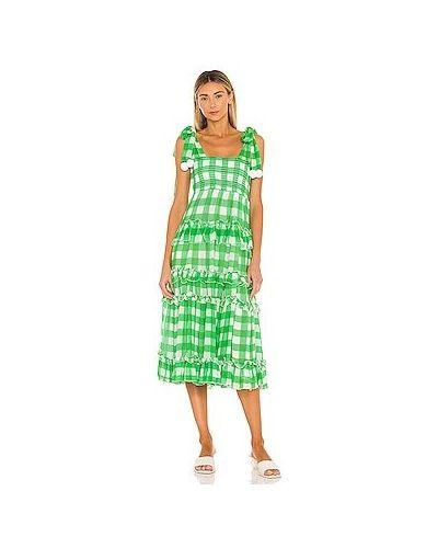 Зеленое платье макси на бретелях из вискозы Sundress
