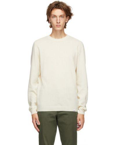 Biały sweter wełniany z długimi rękawami Norse Projects