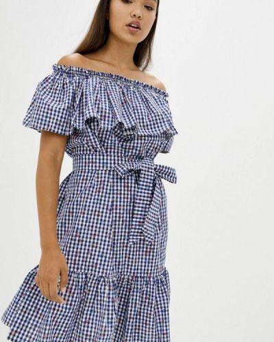 Синее платье с открытыми плечами Прованс