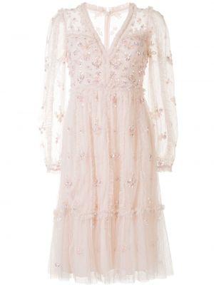 Розовое платье из фатина с пайетками с V-образным вырезом Needle & Thread