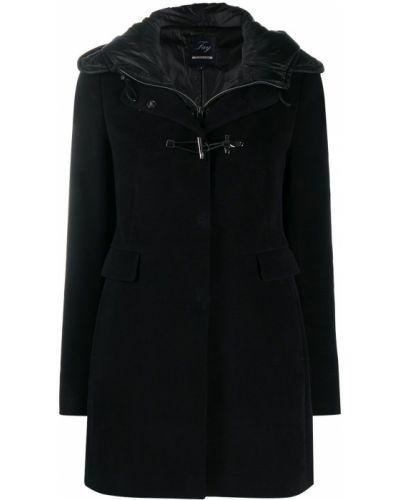 С рукавами хлопковое черное пальто классическое на крючках Fay