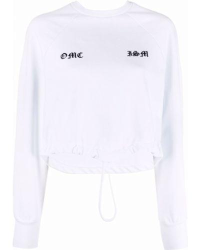 Biała bluza długa z długimi rękawami bawełniana Omc