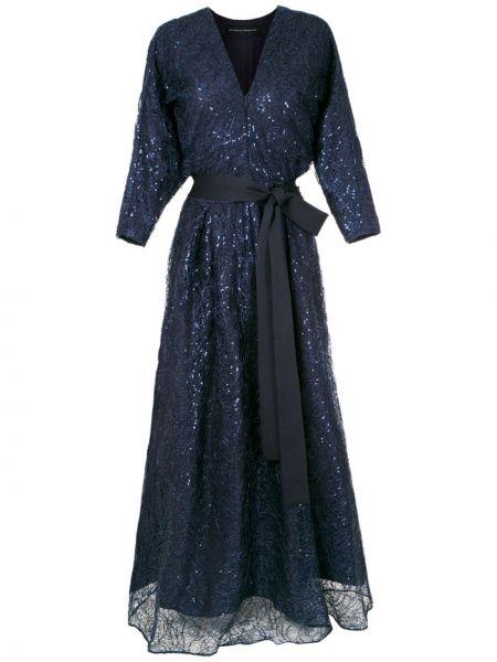 Синее вечернее платье с вышивкой на шнуровке из вискозы Gloria Coelho
