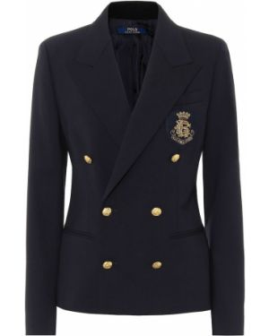 Шерстяной синий костюмный классический пиджак с подстежкой Polo Ralph Lauren
