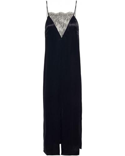 Кружевное черное платье макси из вискозы Khaite