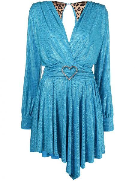 Открытое синее платье миди с открытой спиной Philipp Plein