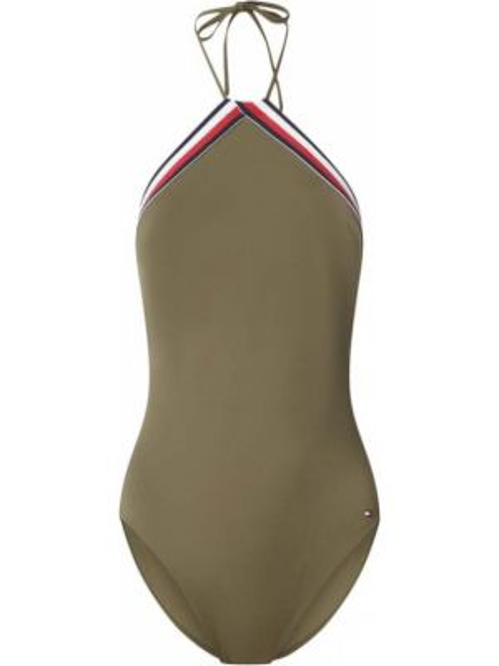 Zielony strój kąpielowy w paski Tommy Hilfiger