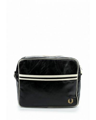Кожаная сумка черная из искусственной кожи Fred Perry