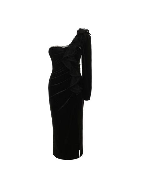 Платье миди с декольте черное Self-portrait