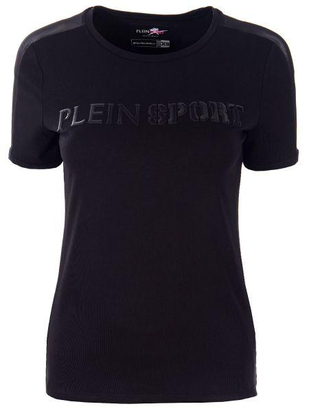 Футбольная черная спортивная футболка из вискозы с круглым вырезом Plein Sport