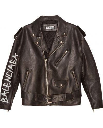 Кожаная куртка черная оверсайз Balenciaga