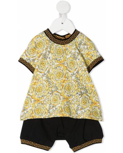 Хлопковый желтый комбинезон на пуговицах Versace Kids