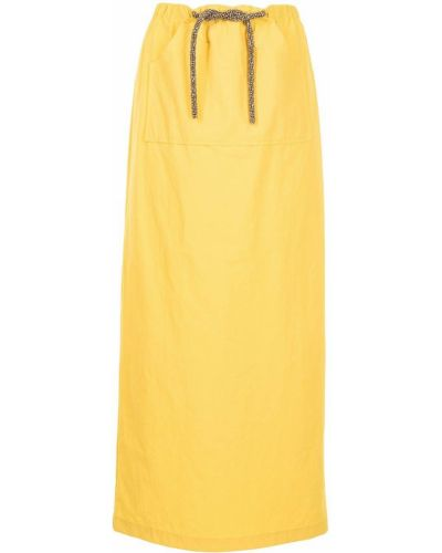 Желтая хлопковая юбка макси с завязками Christopher Esber