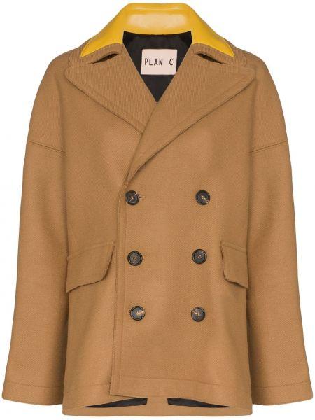 Свободное шерстяное кожаное пальто с воротником свободного кроя Plan C