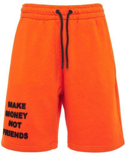Pomarańczowe szorty bawełniane Make Money Not Friends