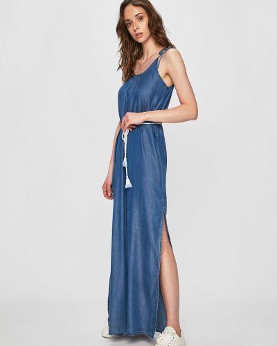 Темно-синее джинсовое платье с вырезом с кисточками Answear
