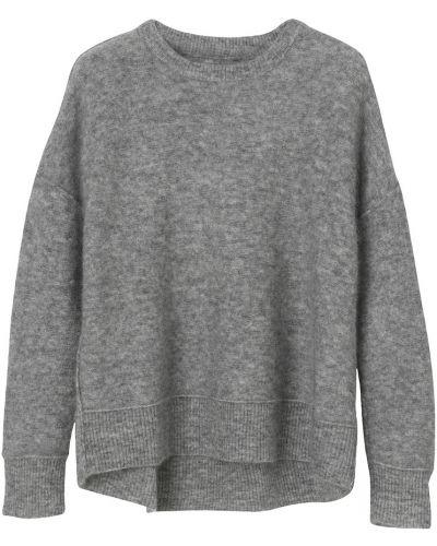 Szary długi sweter oversize z długimi rękawami By Malene Birger