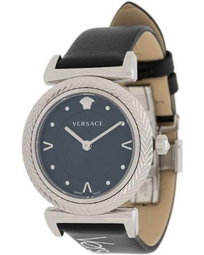 Часы с круглым циферблатом черные Versace