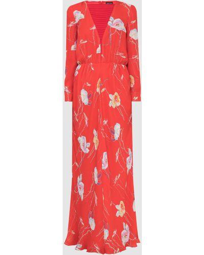 Шелковое платье макси - красное Armani