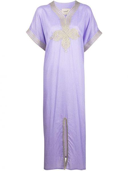 Льняное фиолетовое платье с короткими рукавами Bambah