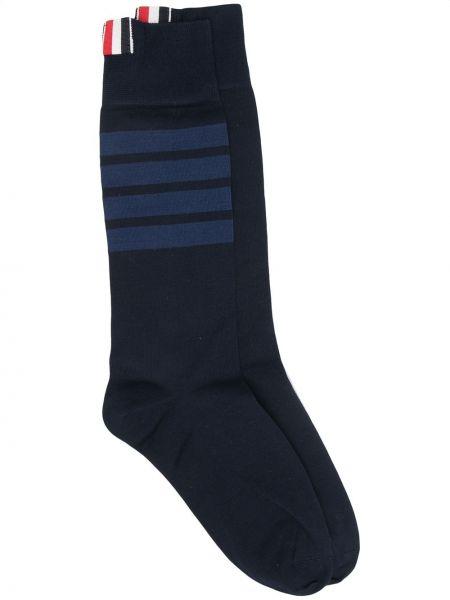 Хлопковые ватные синие носки стрейч Thom Browne