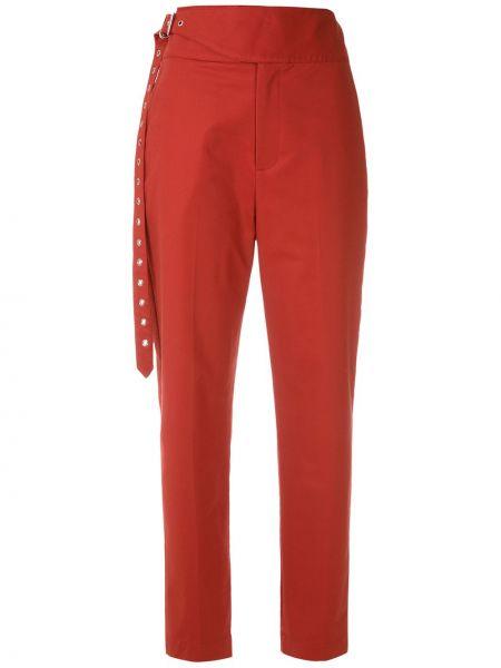 Красные прямые брюки с поясом на молнии Reinaldo Lourenço