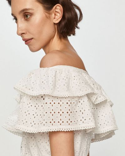 Biała bluzka z falbanami bawełniana Guess