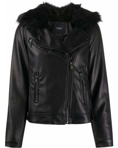 С рукавами прямая черная кожаная куртка на молнии Twin-set