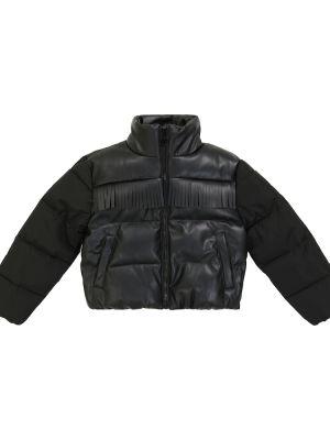 Кожаная куртка с бахромой - черная Stella Mccartney Kids