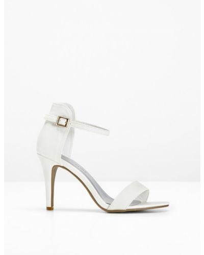 Босоножки на высоком каблуке на каблуке белые Bonprix