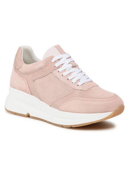 Sneakersy na koturnie skorzane - różowe Marc O'polo