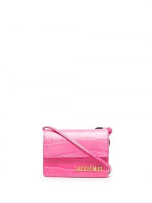 Розовая кожаная маленькая сумка прямоугольная Jacquemus