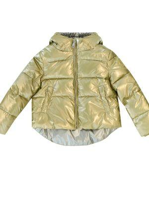 Золотистое желтое кожаное пальто Monnalisa