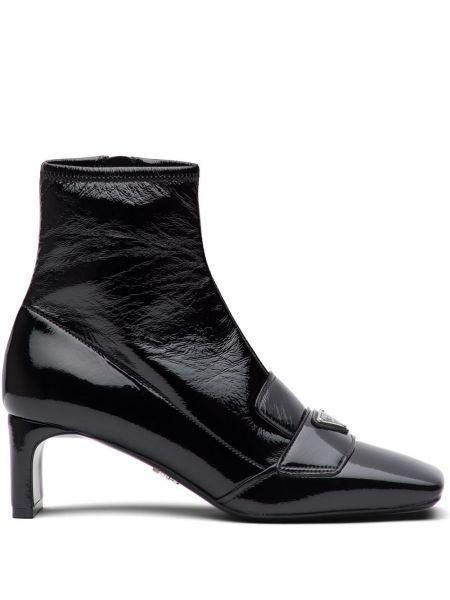 Czarny buty na pięcie z prawdziwej skóry na pięcie plac Prada