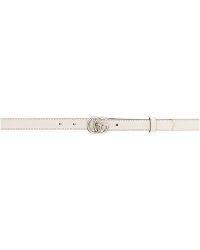 Biały skórzany pasek z paskiem Gucci