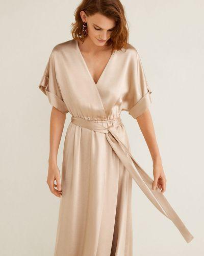 Платье с поясом с запахом с V-образным вырезом Mango
