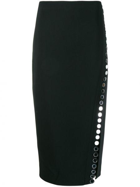 Черная акриловая прямая юбка миди на молнии David Koma