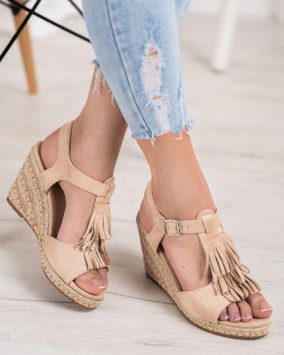 Sandały z frędzlami zamszowe Small Swan