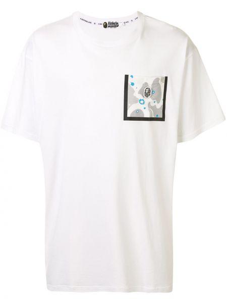 Хлопковая белая футболка с карманами с круглым вырезом Bape