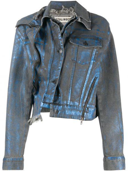 Хлопковая синяя джинсовая куртка с карманами Ottolinger