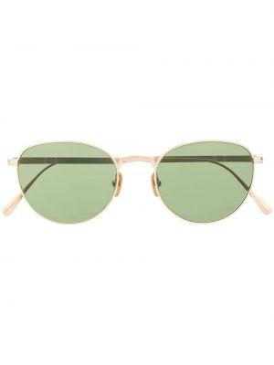 Золотистые желтые солнцезащитные очки круглые Persol