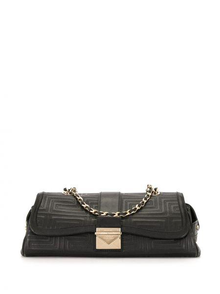 Золотистая черная стеганая кожаная сумка на молнии Versace Pre-owned